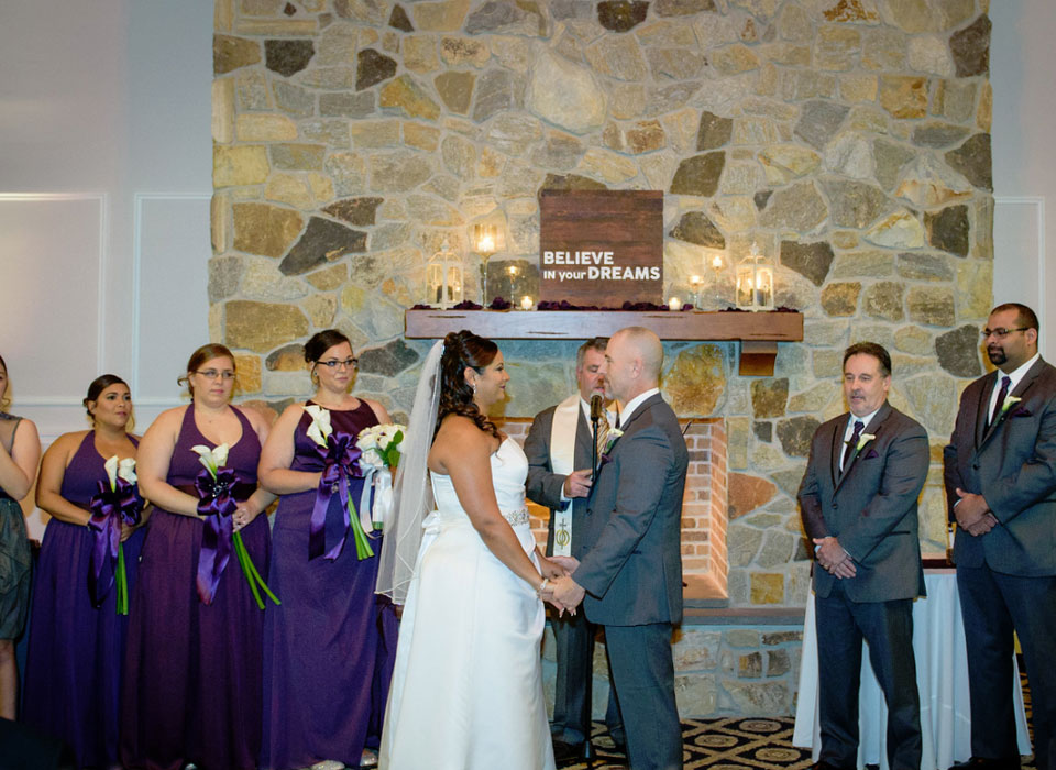 Bride and groom getting married at The Marian House