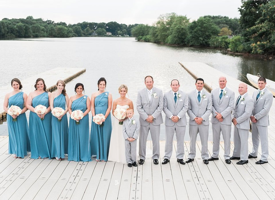 bridal party on the dock of Camden County Boathouse