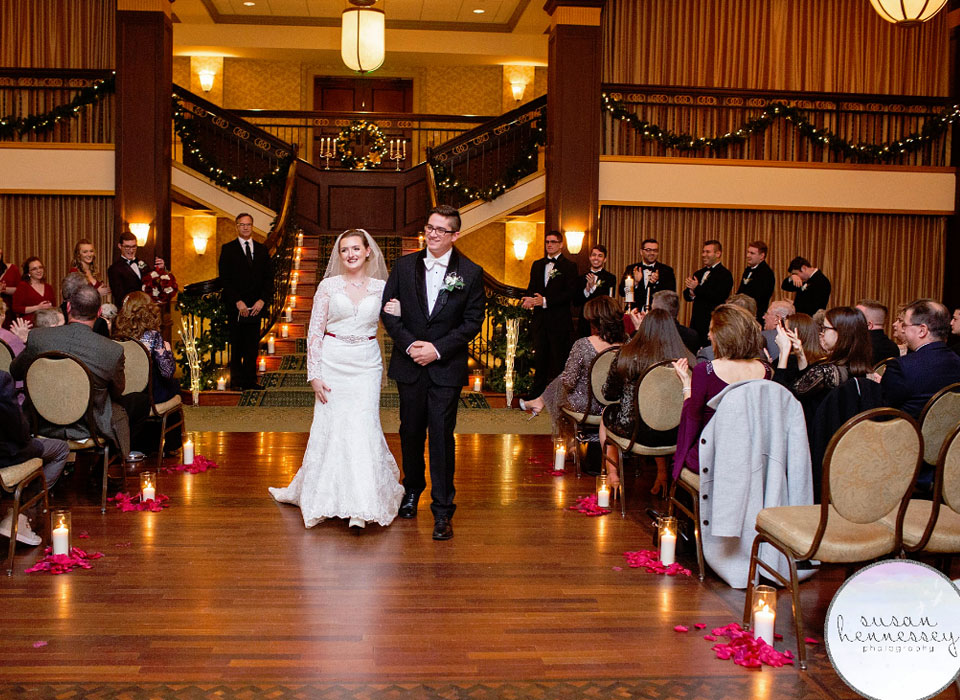bride and groom getting married at Collingswood Grand Ballroom