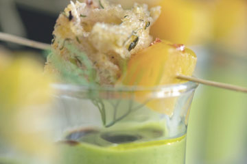 Golden Beet Green Cazapcho shooter with olive crouton