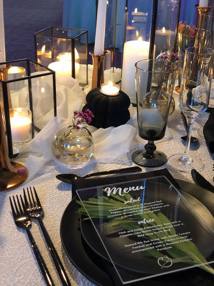 acrylic menu at wedding place setting