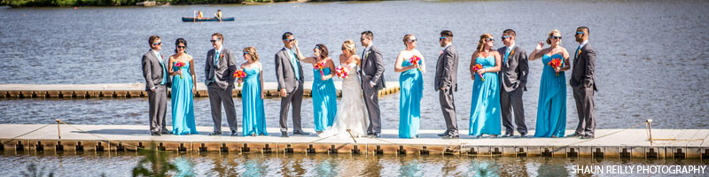 Bridal party on the dock at Camden County Boathouse