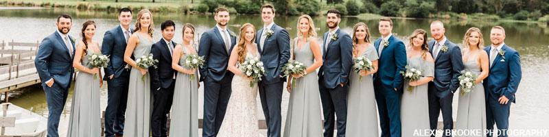 Bridal party at the estate at eagle lake