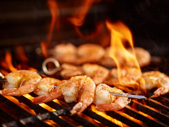 Grilled Jumbo Shrimp on the Grill at a Picnic