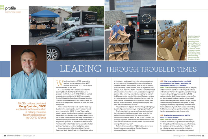 catering magazine interview